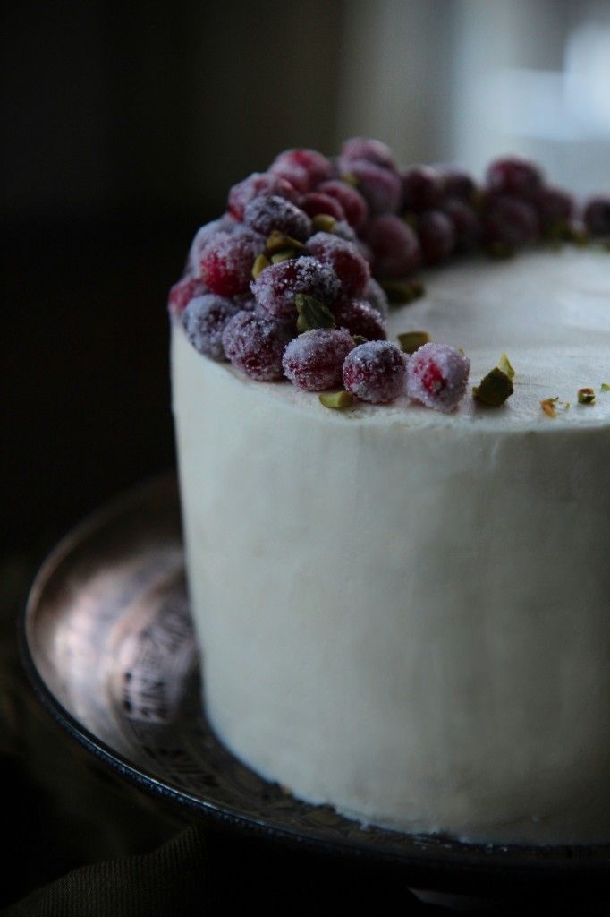 gingerbread cake with mascarpone frosting + cranberry and lemon curd filling