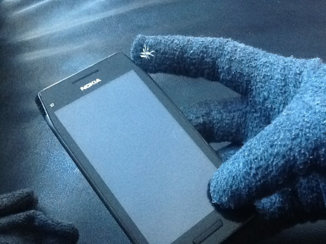How to turn a regular pair of gloves into touchscreen gloves using metallic thread.
