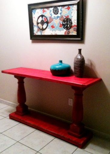 Attirant Console Table Handcrafted Shabby RED With Balustrade Legs