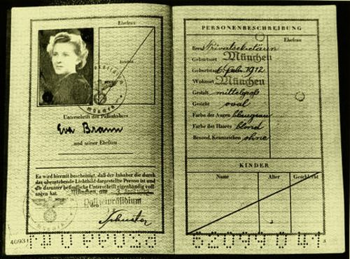 "gretacigarettes: ""Eva Braun Personalausweise (ID Card) I have never seen this one, and now, all the ""mystery"" about the eye color of Eva is revealed. In her personal description, says: Color of eyes: blue-gray """