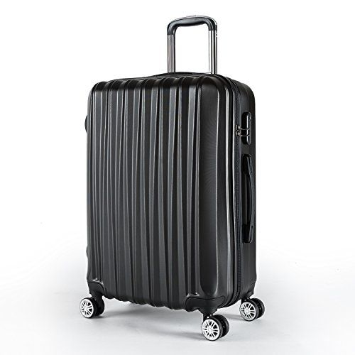 Compaclite Voyager ABS + PC Spinner 24 inch / Strong Lightweight Luggage, Black.