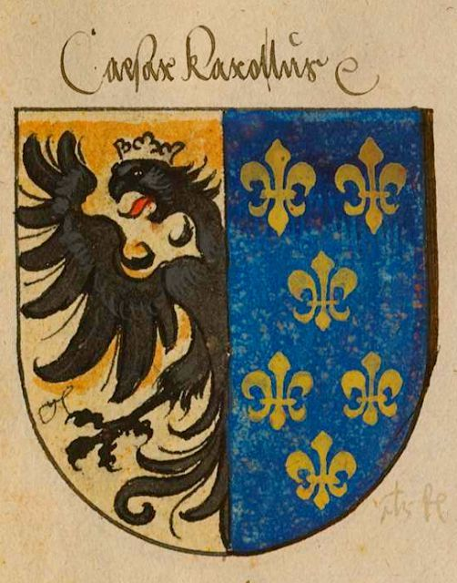 A drawing showing Charlemagne's coat of arms