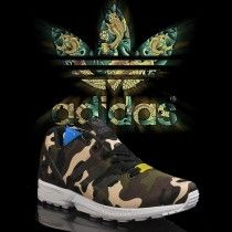 Chaussures Homme Adidas Zx Flux Camo Camouflage Vert Forêt/Anthracite/Beige