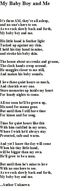 My Baby Boy and Me this is a beautiful poem. My son is a big time cuddler. I love every moment. ♥