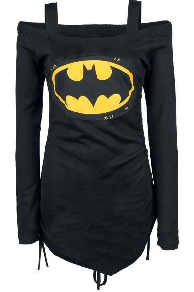 Stylish Long Sleeve Batman Printed Cut Out Lace-Up T-Shirt For Women