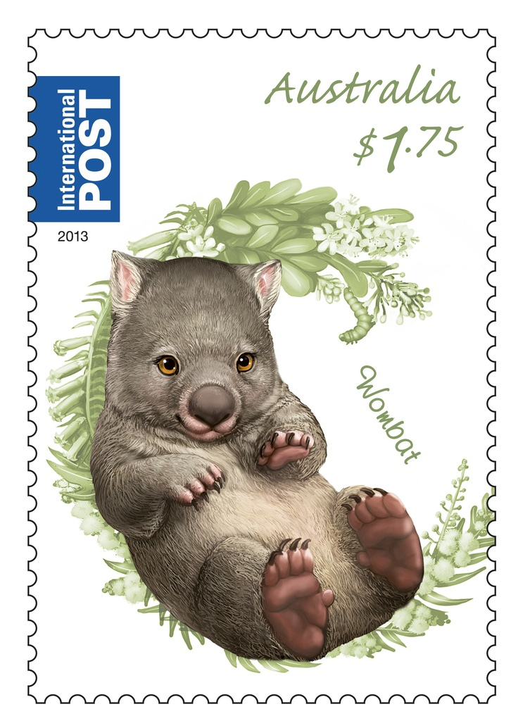 Our Bush Baby Wombat stamp