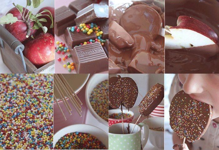 Piruletas de manzana y chocolate. ¡Meriendas divertidas! - Recetín