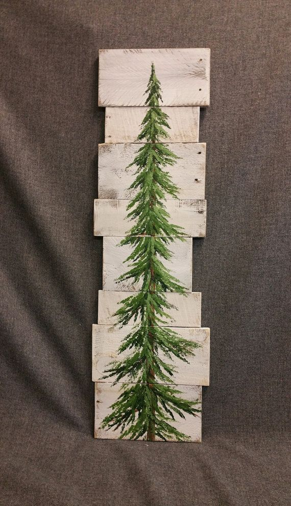 Pine tree, Christmas tree, white washed Reclaimed Wood Pallet Art, winter snow, christmas Hand painted, upcycled, Wall art, Distressed