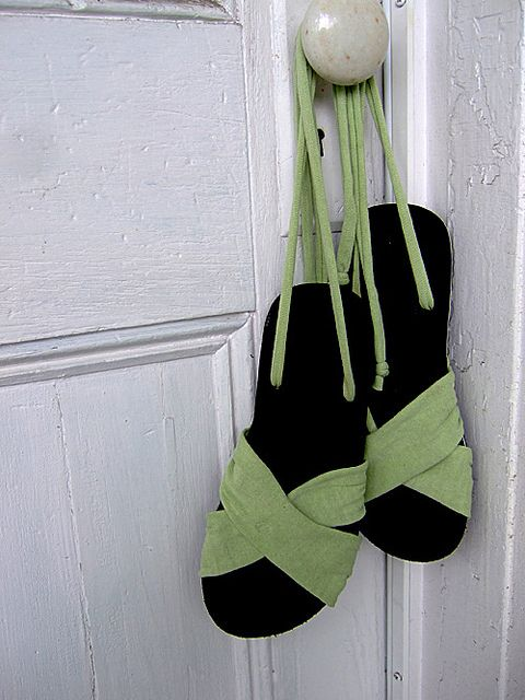 How to make your own custom-made sandals out of recycled flip-flops and an old T-shirt...cool