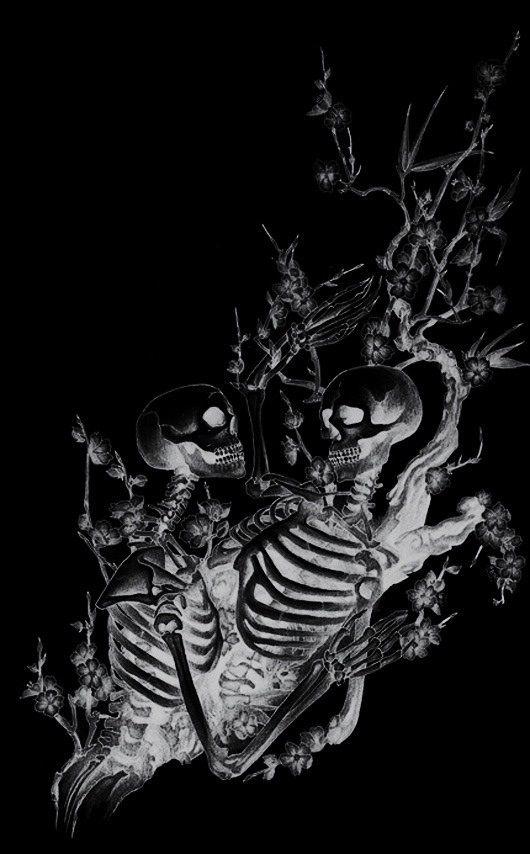 Brain Black Skull Skeleton Skeletons skulls horror macabre ...