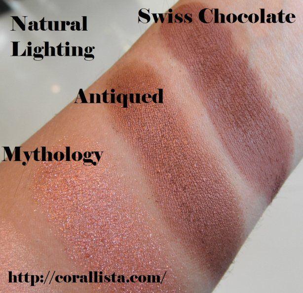 MAC Neutral eye shadow swatches - Mythology, Antiqued, Swiss ...