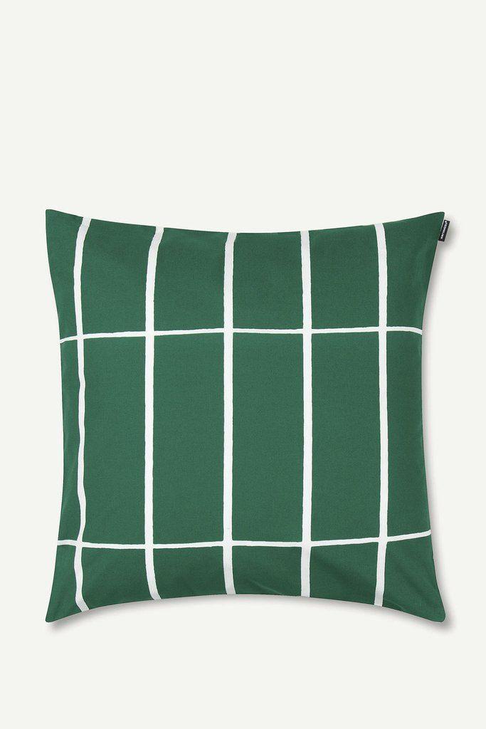 "Marimekko Tiiliskivi 20"" Pillow Cover Green/White - KIITOSlife"