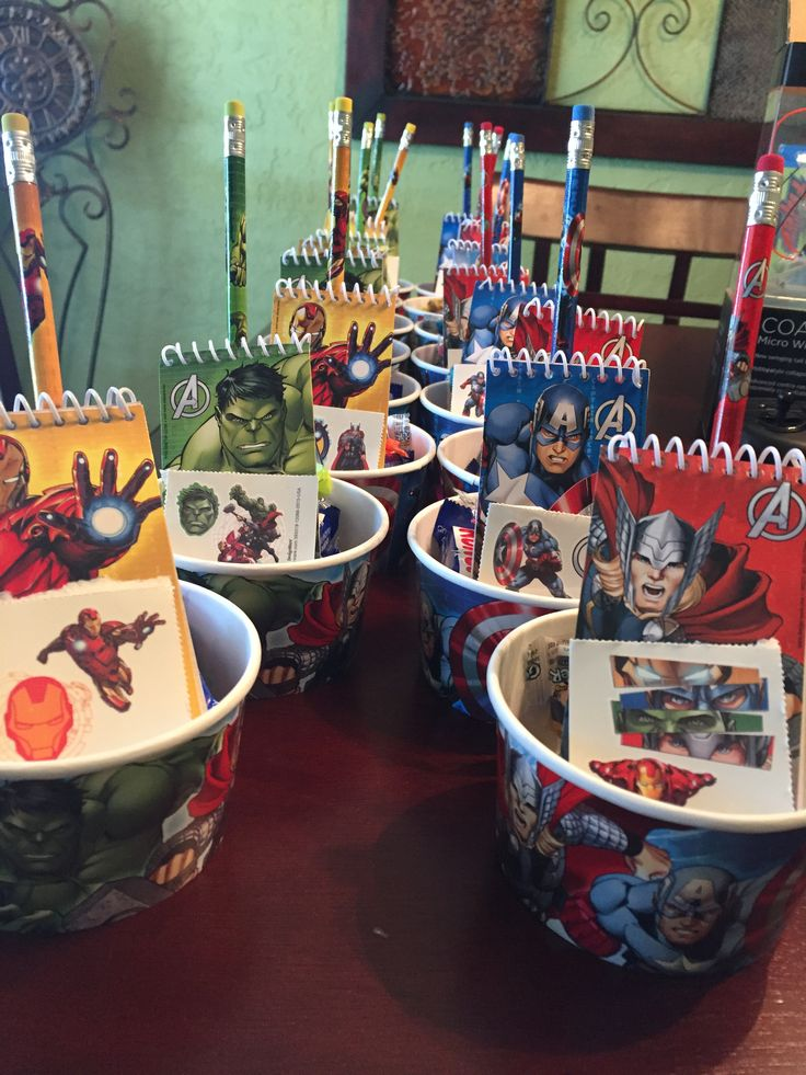 Goodie bags for an Avengers party