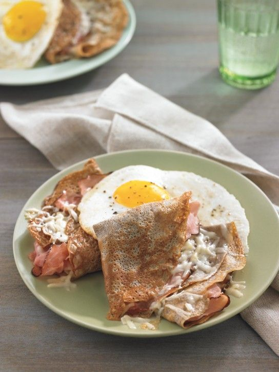 Buckwheat Crepes with Ham, Gruyere and Fried Eggs. A French classic.