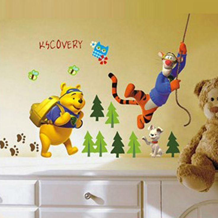Unique Winnie the pooh Cartoon wall Decor stickers for Play Room Nursery Kids Room Affiliate