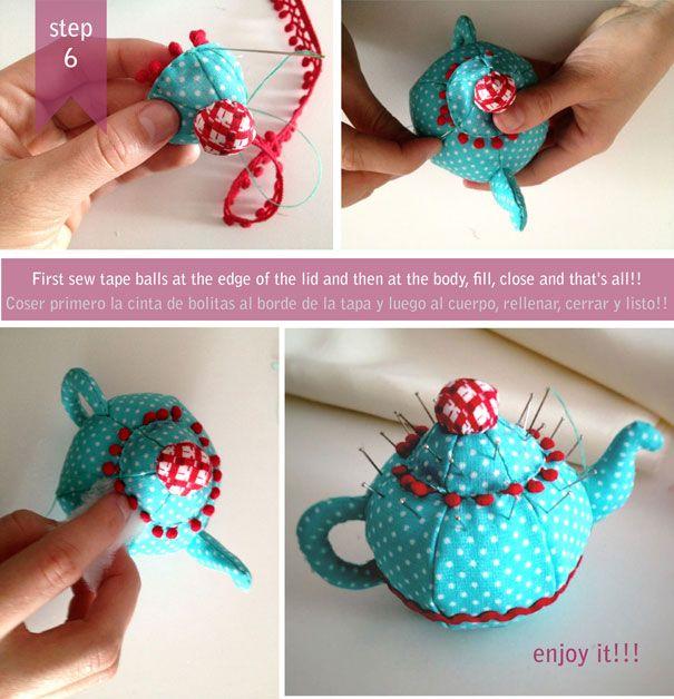 pincushion: Pincushions Needle, Pin Cushions, Pincushions Teapots, Pincushions Tutorials, Teapots Pincushions Patterns, Jointhemood Blogspot Com, Random Pin, Cute Teapots, Crafts