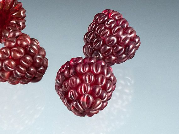Red Raspberry Glass Sculpture w deep red color.  by GlassBerries