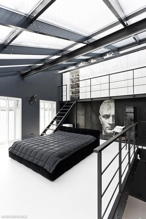 modern loft bedroom bedroom decor bed interior design modern bedroom black and white bedroom