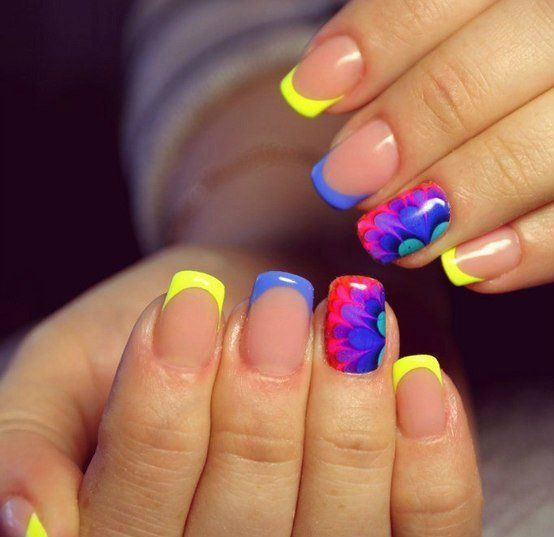 August nails, Bright colorful nails, Bright summer nails, Manicure by summer…