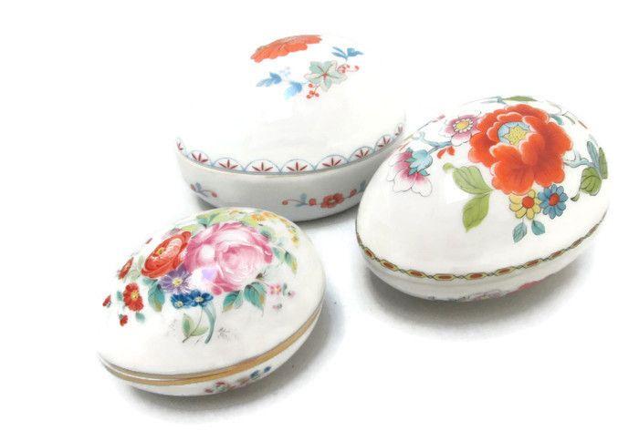 Limoges Porcelain Trio of Egg Shaped Trinket Boxes Maker Marked
