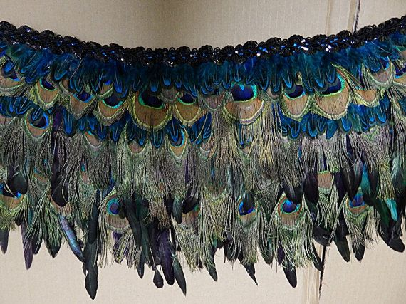 Peacock Feather Belly Dance Hip Feather fringe by sajeeladesign