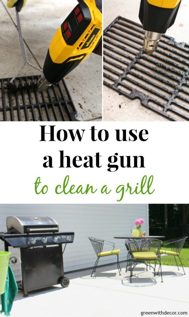 How to use a heat gun to clean a grill - who knew it was this easy? And there are SO many awesome DIY projects you can do with a heat gun, I want to try them all! This one is from Wagner, I love it! #ad