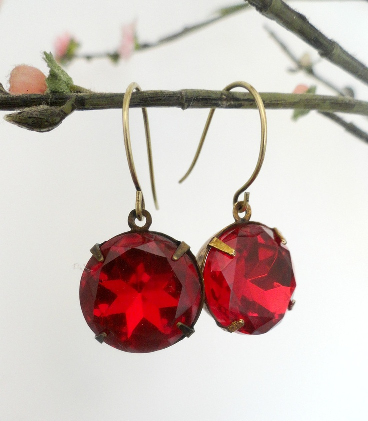 Bower Bird collection  Ruby Red glass vintage by littleittybitty, $18.00