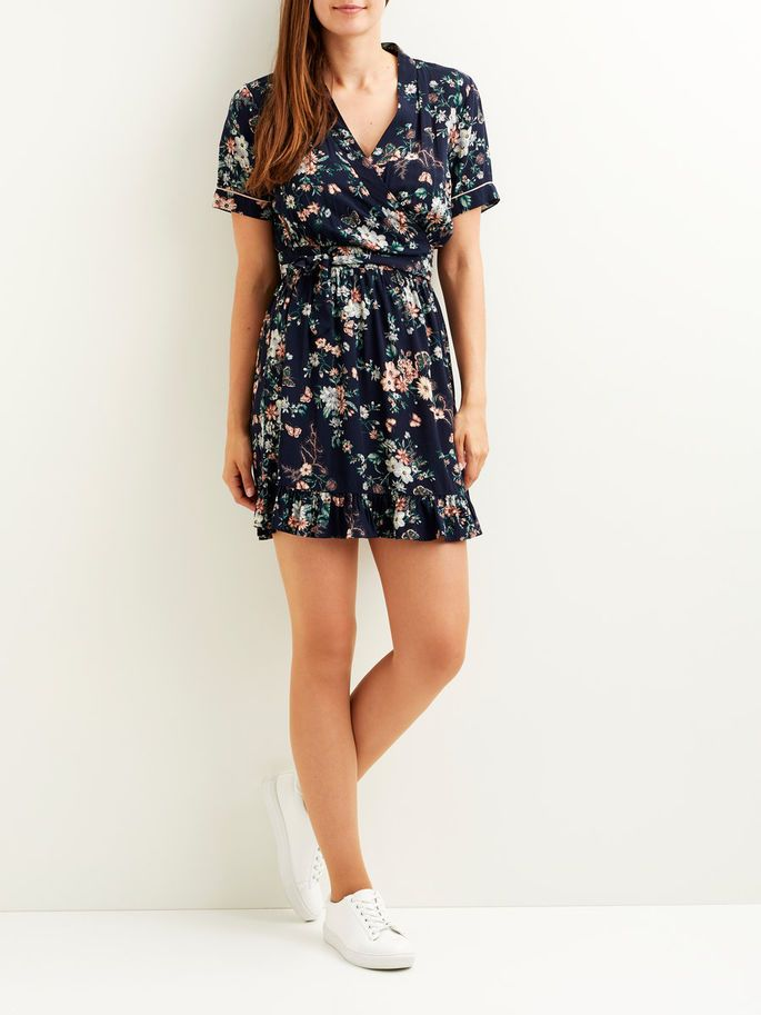 Mönstrad, kortärmad klänning | VILA