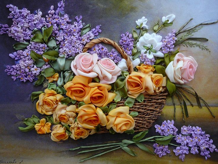 I ❤ ribbonwork . . . Gallery.ru / Garden Flowers - Embroidery- silkfantasy
