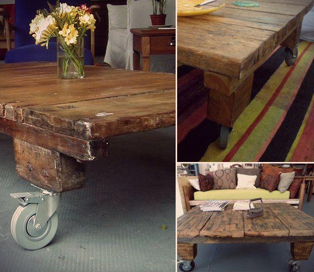 Mesa ratona rustica madera tablones reciclar reciclado for Como hacer una alberca rustica
