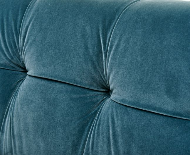 Are you ready for the close up? Say hello to our button-backed Happy sofa in Mermaid velvet!