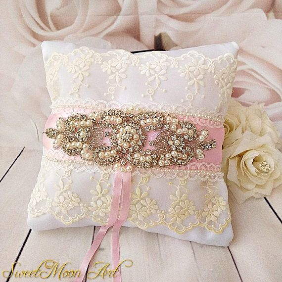 White and pink wedding pillow pink ring pillow lace ring