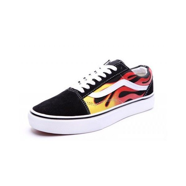 Vans Ghost Rider Fire Old Skool Skateboard Shoes Black [VN1028] ❤ liked on Polyvore featuring shoes, vans shoes, kohl shoes, black shoes and vans footwear