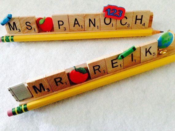 Teacher Appreciation Gift Idea Using Scrabble Letters. No directions just inspiration.