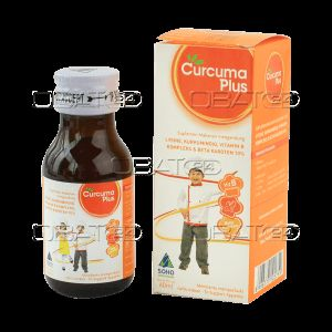 CURCUMA PLUS SYR   Komposisi : Per 5 mL: Vitamin B1 3 mg, vitamin B2 2 mg, vitamin B6 5 mg, vitamin B12 5 mcg, β-carotene 10% 4 mg, dexpanthenol 3 mg, curcuminoid 2 mg  Pabrik : Soho Global Health