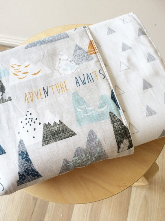 Modern Baby crib blanket. Reversible cot quilt. Adventure