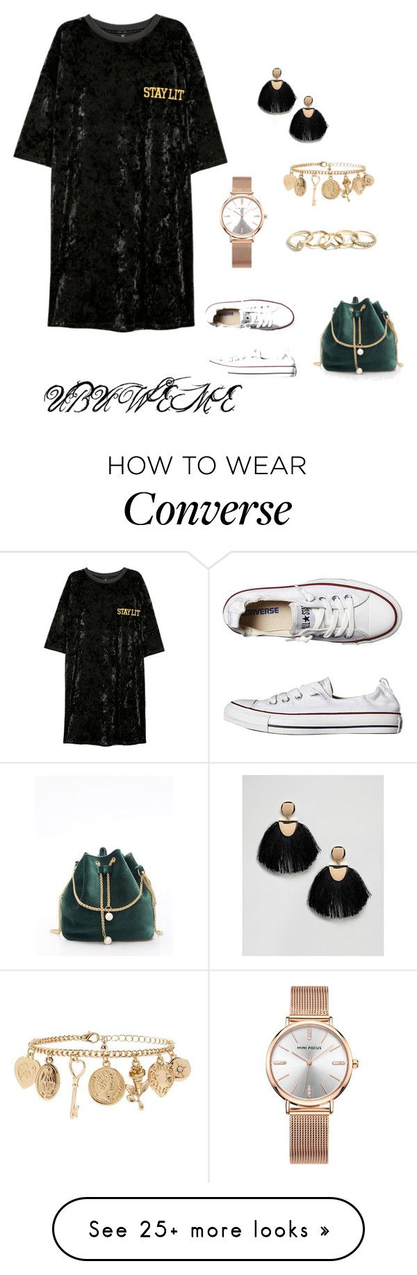 """VELVET TSHIRT DRESS"" by mchangwe on Polyvore featuring Converse, GUESS, Forever 21 and ASOS"