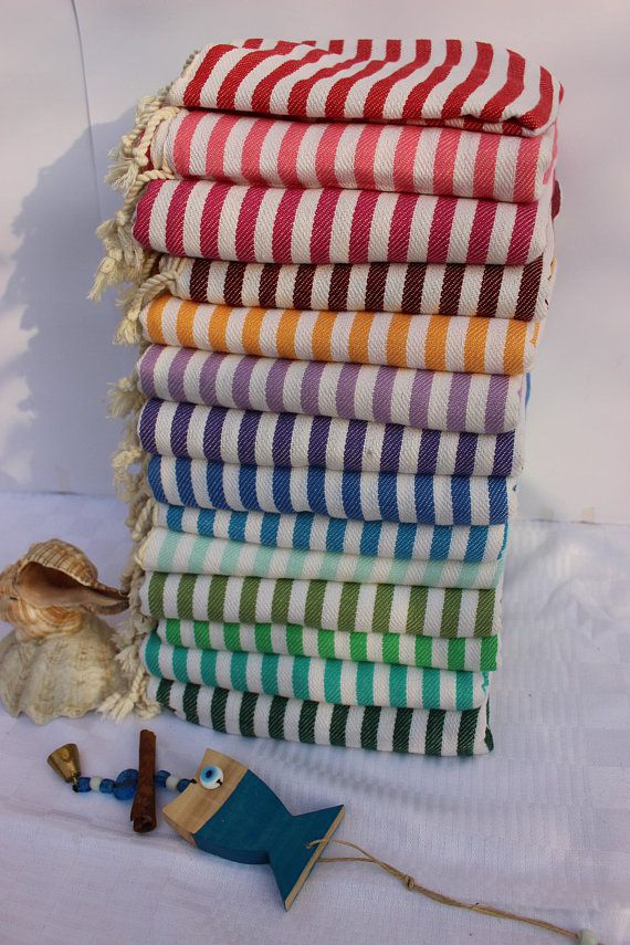 Turkish Towel Striped Peshtemal Set Turkish Beach Towel Hammam Towel