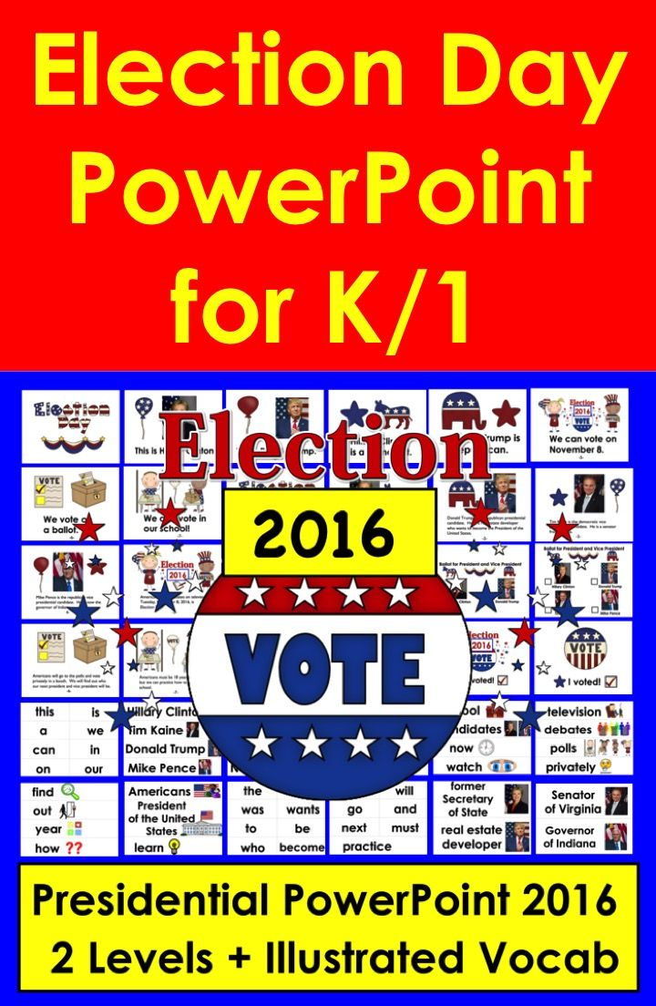 2 Reading Levels - Use with or without my Election Day mini books and classroom election materials packet that is available in my product listings. This PowerPoint contains both levels of the mini book as well as the vocabulary cards. Updated for Election 2016