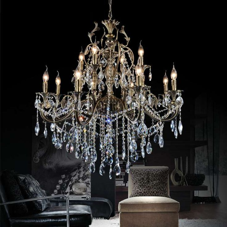 "Show details for 36"" Ottone Traditional Candle Two Tiers Round Crystal Chandelier Antique Brass Finish 8+4 Lights"