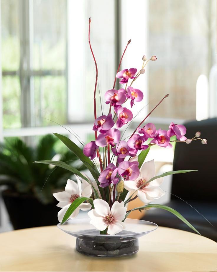 wedding centerpieces fake flowers%0A Magnolias  u     Orchids Silk Flower Arrangement