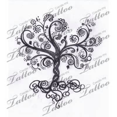 swirls tree tattoo - I don't think I will ever get a tattoo but if I did it would be a tree like this.  It reminds me of family.
