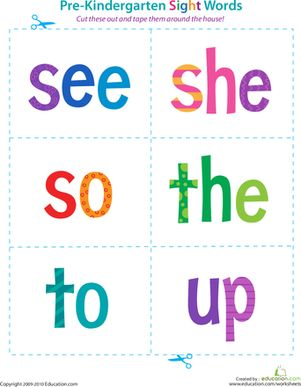 Preschool Sight Words Reading Flash Cards Worksheets: Pre-Kindergarten Sight Words: See to Up Worksheet