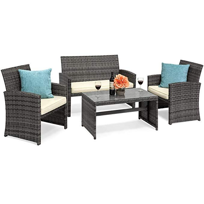 best choice products vd 50276wh 4 piece wicker patio furniture set rh pinterest ca