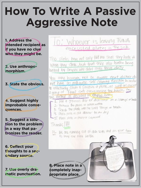 """""""How to Write a Passive Aggressive Note"""" This would be a hilarious writing lesson!"""