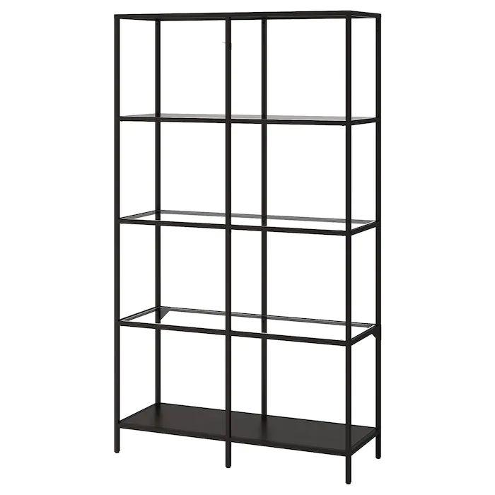 VITTSJÖ Shelf unit – black-brown, glass – IKEA   – home design שחר ואור