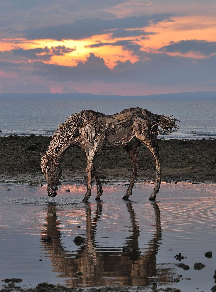 Incredible Horse Sculptures Made From Driftwood