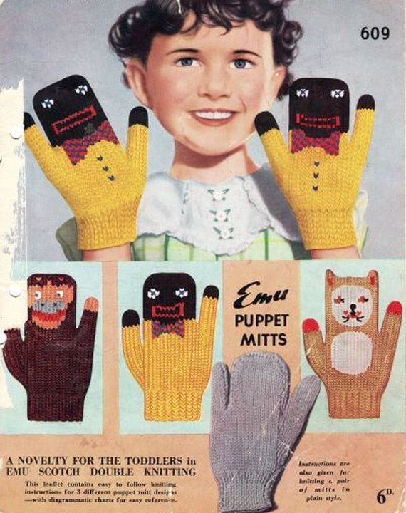 Knitting Patterns For Childrens Characters : Emu 609 childrens character mittens vintage by Ellisadine ...