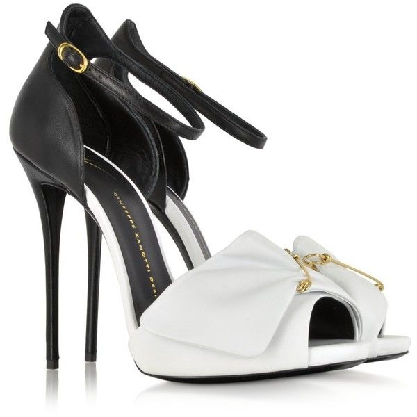 Giuseppe Zanotti Black and White Pin Sandal ($970) ❤ liked on Polyvore featuring shoes, sandals, heels, scarpe, sapatos, heels stilettos, platform heel sandals, heeled sandals, giuseppe zanotti shoes and platform shoes