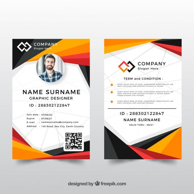 Id Card Template With Abstract Style Id Card Template Card Templates Free Colorful Business Card